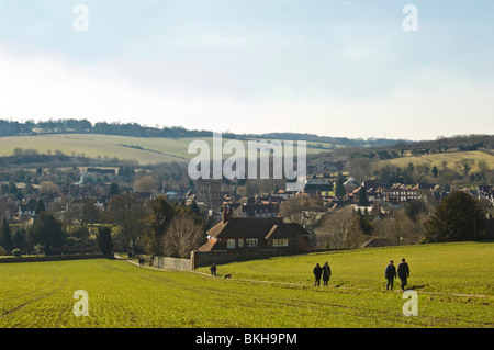 Horizontal wide angle view across the Chiltern Hills of Old Amersham with people walking up the hill on a sunny - Stock Photo
