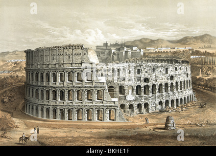 Vintage lithograph print circa 1872 of the Colosseum in Rome, Italy, as it appeared in the latter part of the 19th - Stock Photo