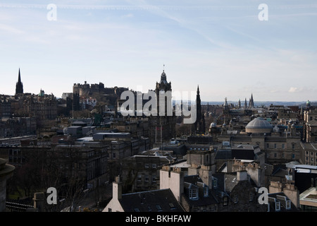 A classic view of central Edinburgh from Calton Hill. Central in the photo is the Balmoral hotel clocktower and - Stock Photo
