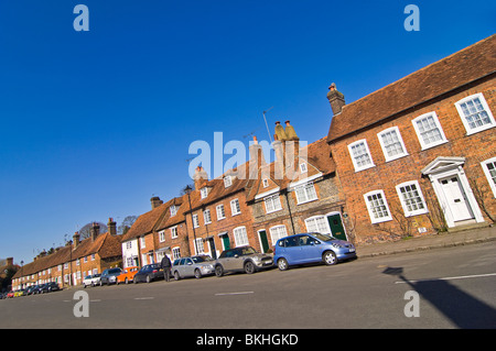 Horizontal wide angle view of the typical red brick and flint Georgian buildings of Old Amersham, Buckinghamshire - Stock Photo