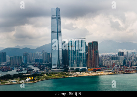 A view of the International Commerce Centre - ICC skyscraper as seen from Central district, Hong Kong island. - Stock Photo
