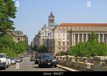A view north of 12th Street NW from above the 12th Street Tunnel that goes under The National Mall in Washington, DC