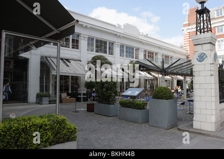 External glass canopy and garden adornments outside the exterior of the Bluebird Restaurant in Kings Road, Chelsea. - Stock Photo