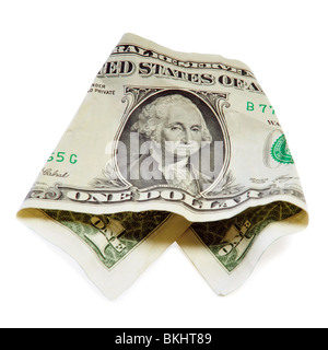 One crumpled dollar isolated on white - Stock Photo