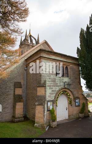 Entrance to Tillington Church with it's Scots Crown Spire - Stock Photo