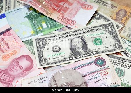 Money of the world - Dollars, euros, russian rubles, thai baht, turkish lira, egypt pounds - Stock Photo