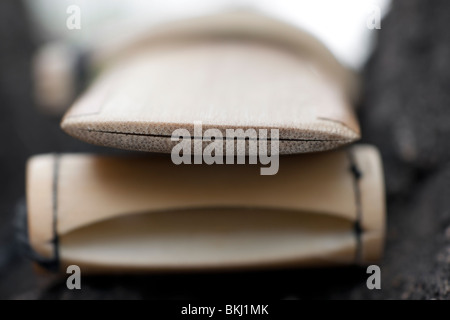 The reed of the duduk. Mouth piece part of Armenian national folk instrument duduk. - Stock Photo