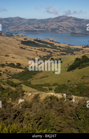 The Banks Peninsula near Christchurch, Canterbury, NewZealand - Stock Photo
