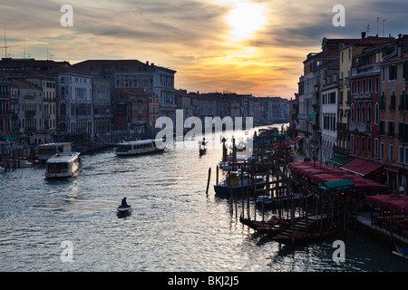 Buildings along the Grand Canal in Venice, Italy as seen from The Rialto Bridge - Stock Photo