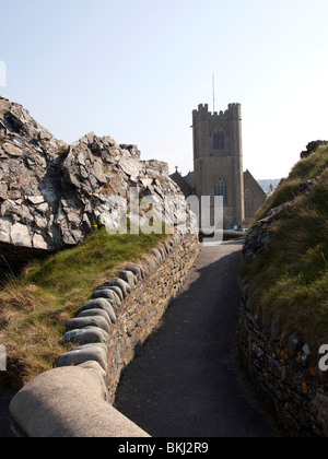 St Michael's church tower as viewed from the ruined welsh castle walls of Aberystwyth in Mid Wales - Stock Photo