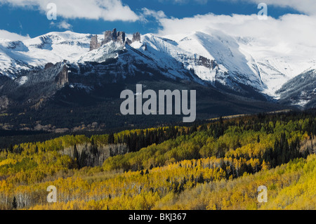 Gunnison National Forest, Colorado, United States Of America; The Mountains And Autumn Colors On The Aspen Trees - Stock Photo