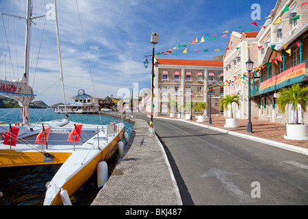 A view of the harbour front in St. George's, Grenada, West Indies. - Stock Photo