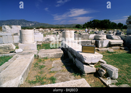 greece, northeastern aegean islands, samos, heraion, early christian basilica - Stock Photo