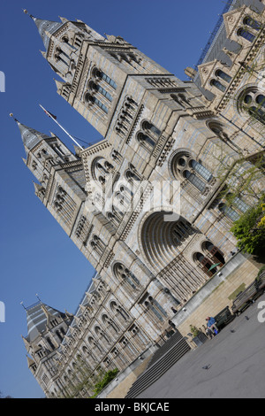 Low level and angled aspect of the main entrance and west wing of The Natural History Museum in London. - Stock Photo
