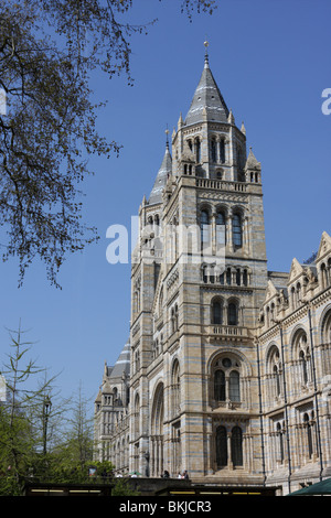 Easterly aspect of the main entrance of the Natural History Museum in South Kensington in London. - Stock Photo