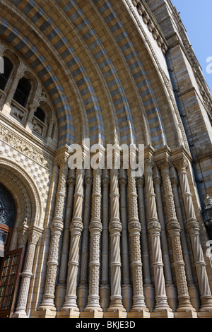 Tiled archway and pilasters at the main entrance to the Natural History Museum in South Kensington,London. - Stock Photo