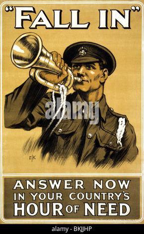 World War One British recruiting and propaganda poster c1915 featuring a soldier blowing a bugle and urging men - Stock Photo