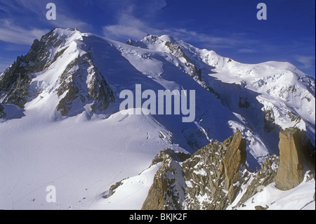 Mont Blanc highest mountain in western Europe from the Aiguille du Midi above Chamonix France European Alps - Stock Photo
