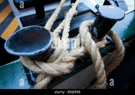 Detail of rope mooring on Vaporetto waterbus on the Grand Canal in Venice Italy - Stock Photo
