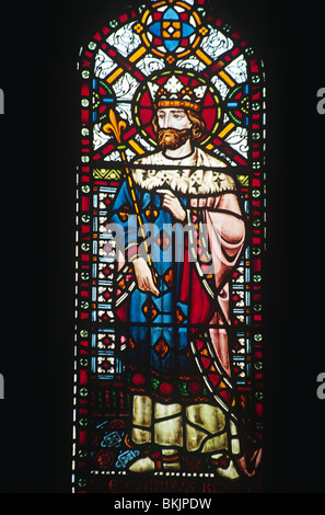 England, London, All Saints church, Stained glass window depicting Saint Edward the Confessor - Stock Photo