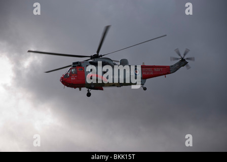 Royal Navy Search & Rescue Sea King MK5 Helicopter - Stock Photo