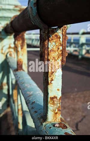 Rusty Victorian iron railings on sea front requiring maintenance Brighton England UK - Stock Photo