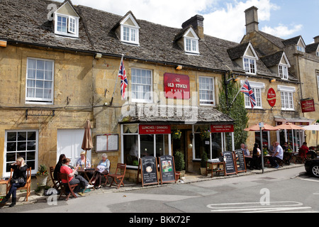 facade of the old stocks hotel market square stow on the wold gloucestershire uk - Stock Photo
