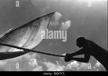 Fishing dhows off the East Coast of Africa. - Stock Photo