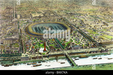 Contemporary lithograph colour print showing an aerial view of the Paris Exposition Universelle (universal exposition) - Stock Photo