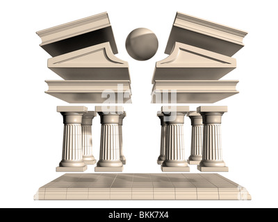Isolated illustration of a deconstructed Greek Temple - Stock Photo