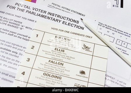 Postal voting ballot papers for the General Election, constituency of Sevenoaks, Kent, England - Stock Photo