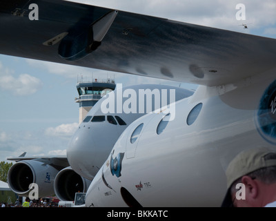 Oshkosh Tower, Airbus A380 and Virgin Mothership Eve at 2009 EAA Air Venture Oshkosh Wisconsin USA - Stock Photo