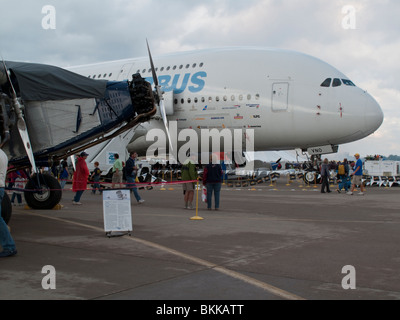 Airbus A380 and Ford Tri-Motor at 2009 EAA Air Venture Oshkosh Wisconsin USA - Stock Photo