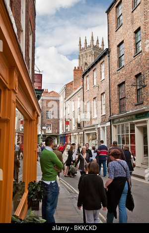 View along Grape Lane with York Minster in the background, York, Yorkshire, Uk - Stock Photo