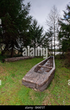 Dugout canoe found at Fort Clatsop. - Stock Photo