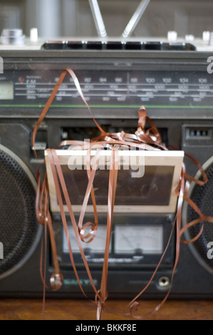 cassette player chewed up cassette - Stock Photo