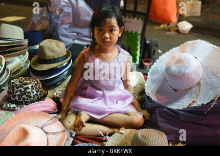 Bangkok thailand a little girl in front of the muay thai for Tiny thai teen