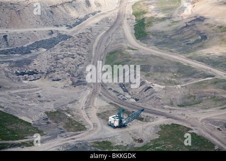 Aerial View of Dragline Excavator Used in Mountaintop Removal Coal Mining - Stock Photo