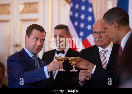 President Barack Obama, Russian President Dmitry Medvedev, left, and Czech Republic President Vaclav Klaus share - Stock Photo