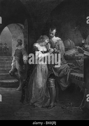 Vintage print depicting Sir Walter Raleigh bidding farewell to his wife on the morning of his execution for treason - Stock Photo