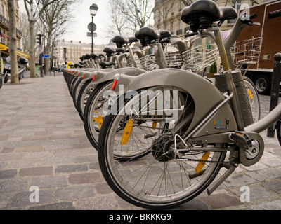 Vélib or Freedom Bicycle Scheme in Paris, France - Stock Photo