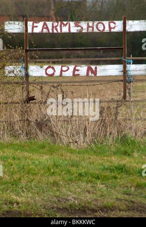 Farm Shop Open Sign Rustic - Stock Photo