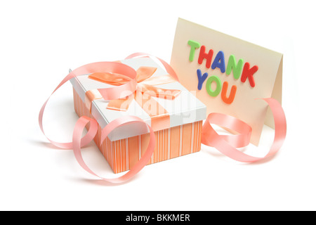 Gift Parcel and Card - Stock Photo