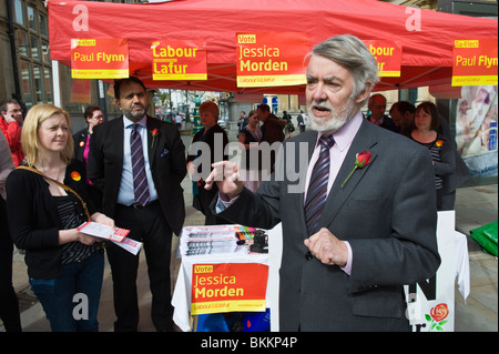 Paul Flynn Labour Party candidate campaigning for re-election in Newport West constituency South Wales UK - Stock Photo