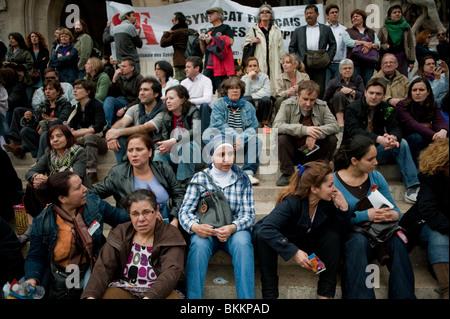 Diverse Crowd Watching Break Dancer Street performers, Paris France, Audience - Stock Photo