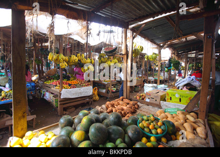 Kenya, East, Africa, along the B5, village of Nyeri, open air market - Stock Photo