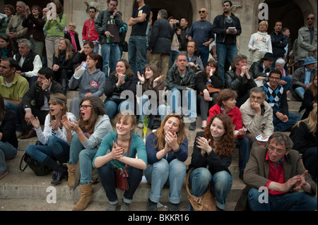 Crowd of Teens, Diverse French People , Paris, France, Young Adults, Teenagers, Audience, Watching Street Performer - Stock Photo