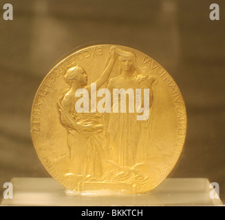 Israel, Jerusalem, Science Museum, Albert Einstein's Nobel Prize Medal 1922 - Stock Photo