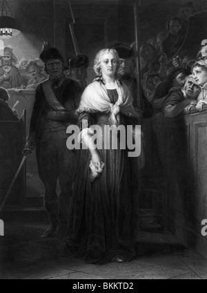 Vintage engraving print of French Queen Marie Antoinette being condemned to death by the Revolutionary Tribunal - Stock Photo