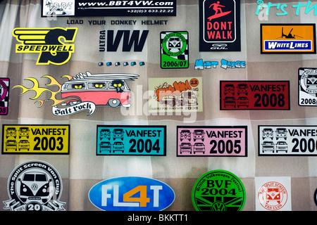 Window stickers on a V W Camper Van at the Big Bang Show Santa Pod Raceway England UK - Stock Photo